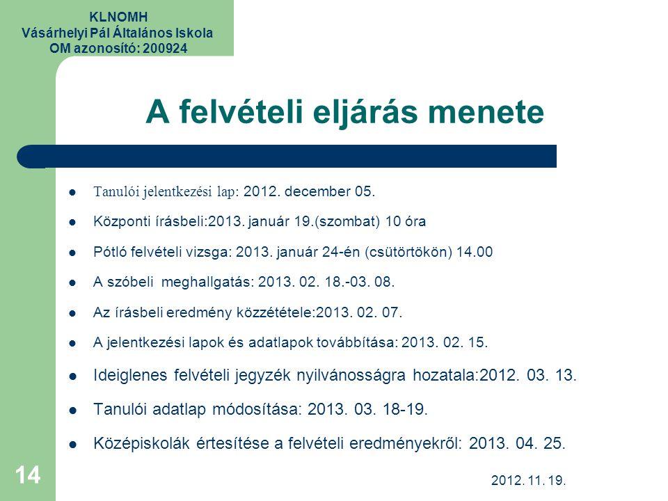 KLNOMH Vásárhelyi Pál Általános Iskola OM azonosító: 200924 A felvételi eljárás menete Tanulói jelentkezési lap: 2012. december 05. Központi írásbeli: