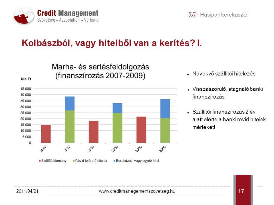 Húsipari kerekasztal 2011/04/21www.creditmanagementszovetseg.hu 18 Kolbászból, vagy hitelből van a kerítés.