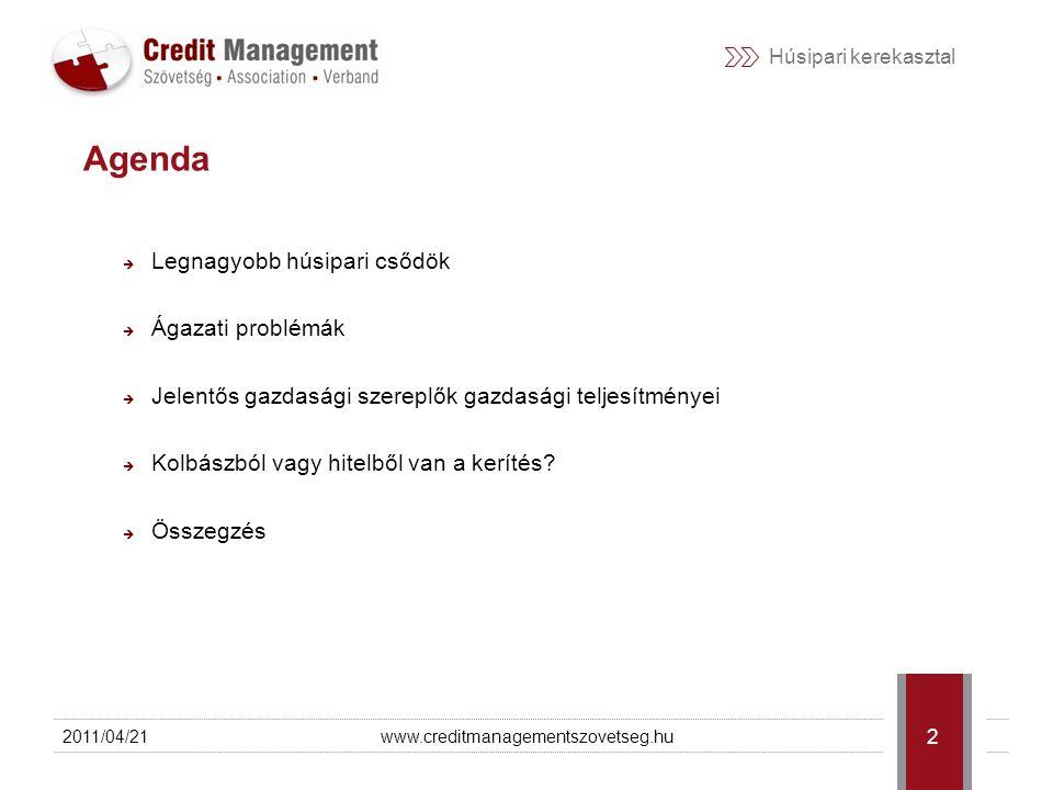 Húsipari kerekasztal 2011/04/21www.creditmanagementszovetseg.hu 3 Elmúlt évek nagyobb csődjei Hajdú-Bét Rt.