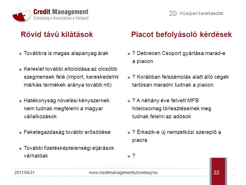 Húsipari kerekasztal Web: http://www.creditmanagemenszovetseg.hu Email: info@creditmanagementszovetseg.hu Telefon: +36 1 248 0067 2011/04/21www.creditmanagementszovetseg.hu 23