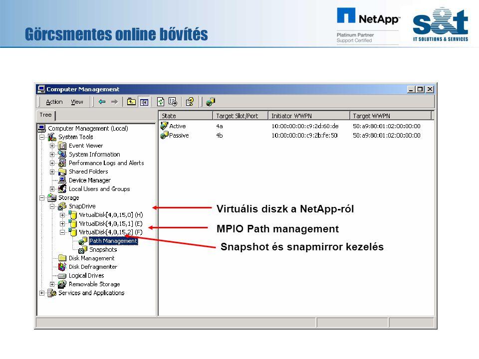 Görcsmentes online bővítés MPIO Path management Snapshot és snapmirror kezelés Virtuális diszk a NetApp-ról