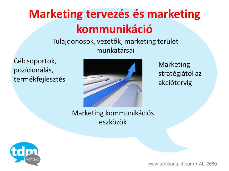 Marketing tervezés és marketing kommunikáció Tulajdonosok, vezetők, marketing terület munkatársai Célcsoportok, pozícionálás, termékfejlesztés Marketi