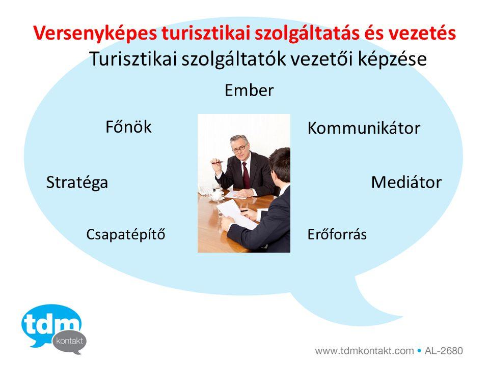 Versenyképes turisztikai szolgáltatás és vezetés Turisztikai szolgáltatók vezetői képzése Csapatépítő Kommunikátor Ember Főnök StratégaMediátor Erőforrás