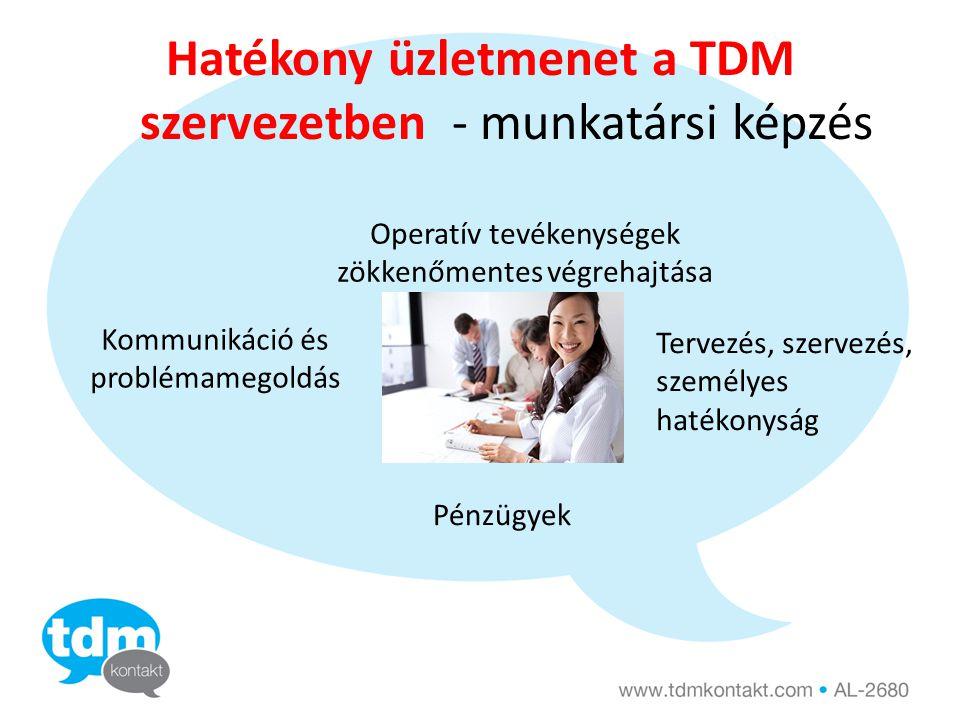 Hatékony üzletmenet a TDM szervezetben - munkatársi képzés Operatív tevékenységek zökkenőmentes végrehajtása Kommunikáció és problémamegoldás Tervezés, szervezés, személyes hatékonyság Pénzügyek