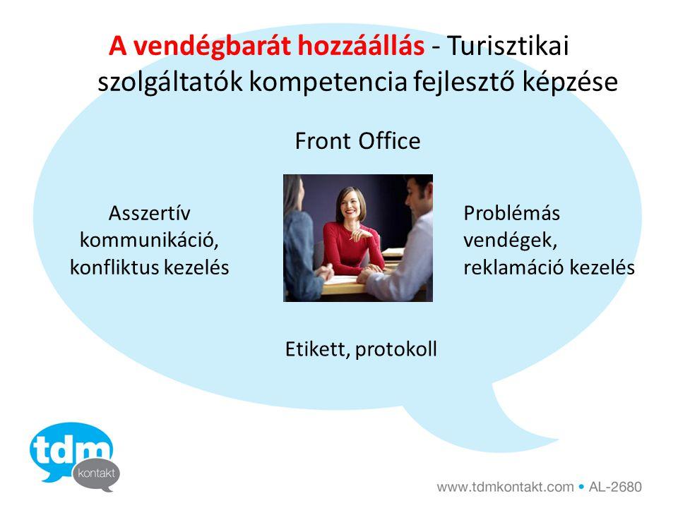 A vendégbarát hozzáállás - Turisztikai szolgáltatók kompetencia fejlesztő képzése Front Office Asszertív kommunikáció, konfliktus kezelés Problémás vendégek, reklamáció kezelés Etikett, protokoll