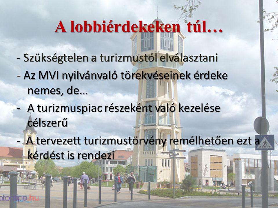 A lobbiérdekeken túl… Szükségtelen a turizmustól elválasztani - Szükségtelen a turizmustól elválasztani - Az MVI nyilvánvaló törekvéseinek érdeke nemes, de… -A turizmuspiac részeként való kezelése célszerű - A tervezett turizmustörvény remélhetően ezt a kérdést is rendezi