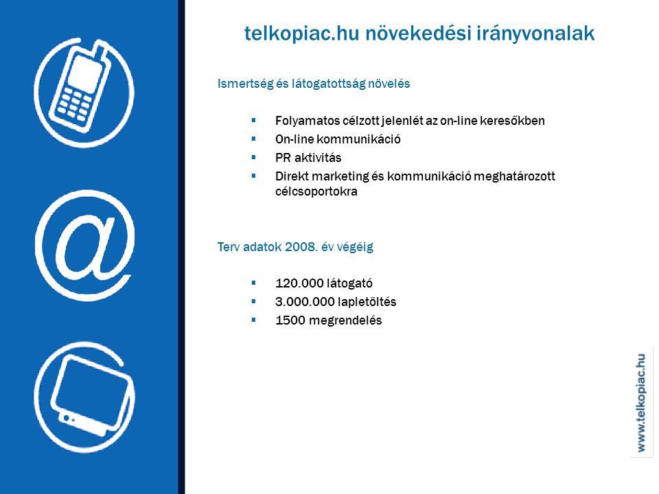 Ismertség és látogatottság növelés  Folyamatos célzott jelenlét az on-line keresőkben  On-line kommunikáció  PR aktivitás  Direkt marketing és kommunikáció meghatározott célcsoportokra Terv adatok 2008.