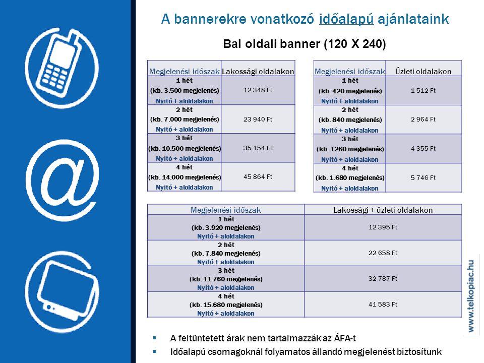 A bannerekre vonatkozó időalapú ajánlataink Bal oldali banner (120 X 240)  A feltüntetett árak nem tartalmazzák az ÁFA-t  Időalapú csomagoknál folyamatos állandó megjelenést biztosítunk Megjelenési időszakLakossági oldalakon 1 hét 12 348 Ft (kb.