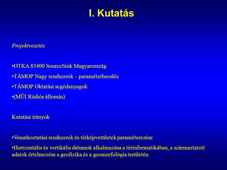 I. Kutatás Projektvezetés OTKA 83400 SourceSink Magyarország TÁMOP Nagy rendszerek – paraméterbecslés TÁMOP Oktatási segédanyagok (MŰI Rádiós állomás)