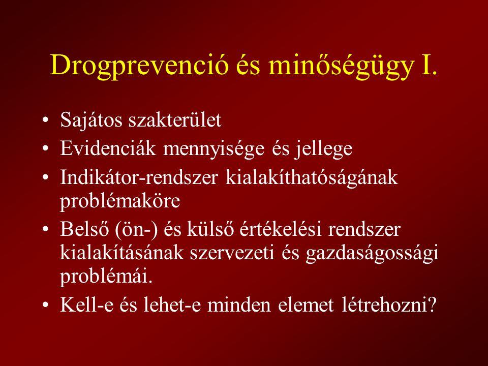 Drogprevenció és minőségügy I. Sajátos szakterület Evidenciák mennyisége és jellege Indikátor-rendszer kialakíthatóságának problémaköre Belső (ön-) és