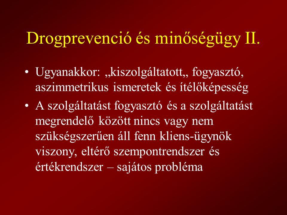 """Drogprevenció és minőségügy II. Ugyanakkor: """"kiszolgáltatott"""" fogyasztó, aszimmetrikus ismeretek és ítélőképesség A szolgáltatást fogyasztó és a szolg"""