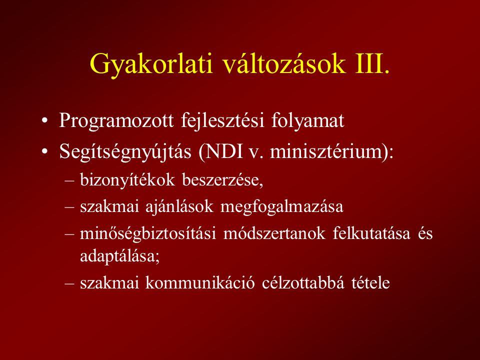 Gyakorlati változások III. Programozott fejlesztési folyamat Segítségnyújtás (NDI v. minisztérium): –bizonyítékok beszerzése, –szakmai ajánlások megfo