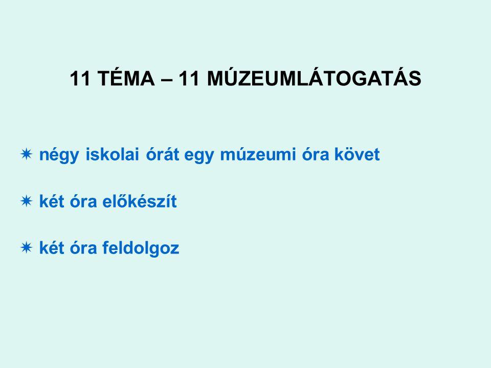 11 TÉMA – 11 MÚZEUMLÁTOGATÁS  négy iskolai órát egy múzeumi óra követ  két óra előkészít  két óra feldolgoz