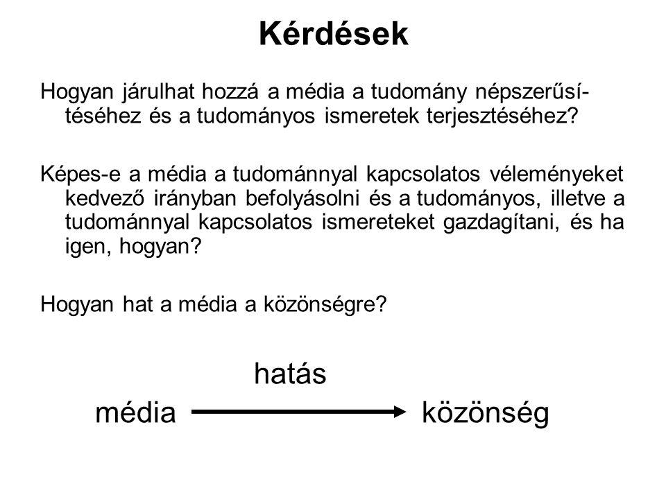Kérdések Hogyan járulhat hozzá a média a tudomány népszerűsí- téséhez és a tudományos ismeretek terjesztéséhez? Képes-e a média a tudománnyal kapcsola