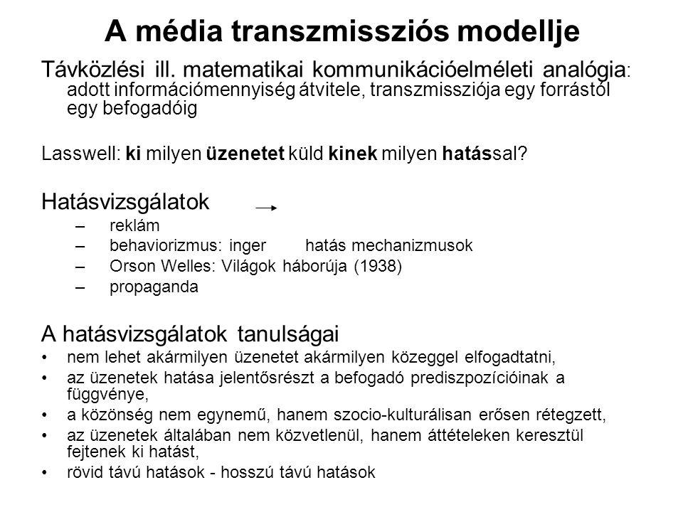 A média transzmissziós modellje Távközlési ill. matematikai kommunikációelméleti analógia : adott információmennyiség átvitele, transzmissziója egy fo