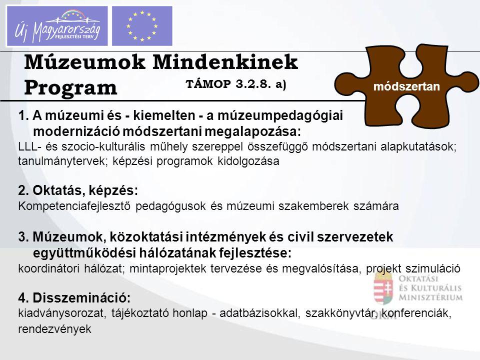 Múzeumok Mindenkinek Program módszertan 1. A múzeumi és - kiemelten - a múzeumpedagógiai modernizáció módszertani megalapozása: LLL- és szocio-kulturá