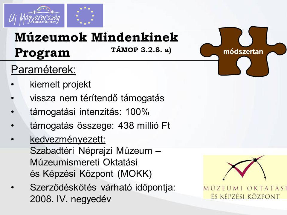 Paraméterek: kiemelt projekt vissza nem térítendő támogatás támogatási intenzitás: 100% támogatás összege: 438 millió Ft kedvezményezett: Szabadtéri N