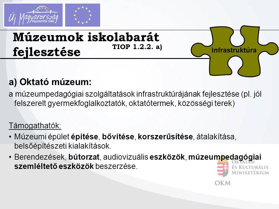 a) Oktató múzeum: a múzeumpedagógiai szolgáltatások infrastruktúrájának fejlesztése (pl. jól felszerelt gyermekfoglalkoztatók, oktatótermek, közösségi