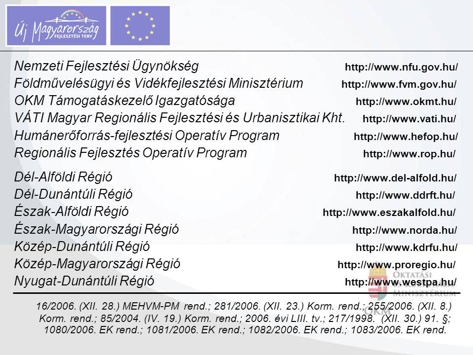Nemzeti Fejlesztési Ügynökség http://www.nfu.gov.hu/ Földművelésügyi és Vidékfejlesztési Minisztérium http://www.fvm.gov.hu/ OKM Támogatáskezelő Igazg