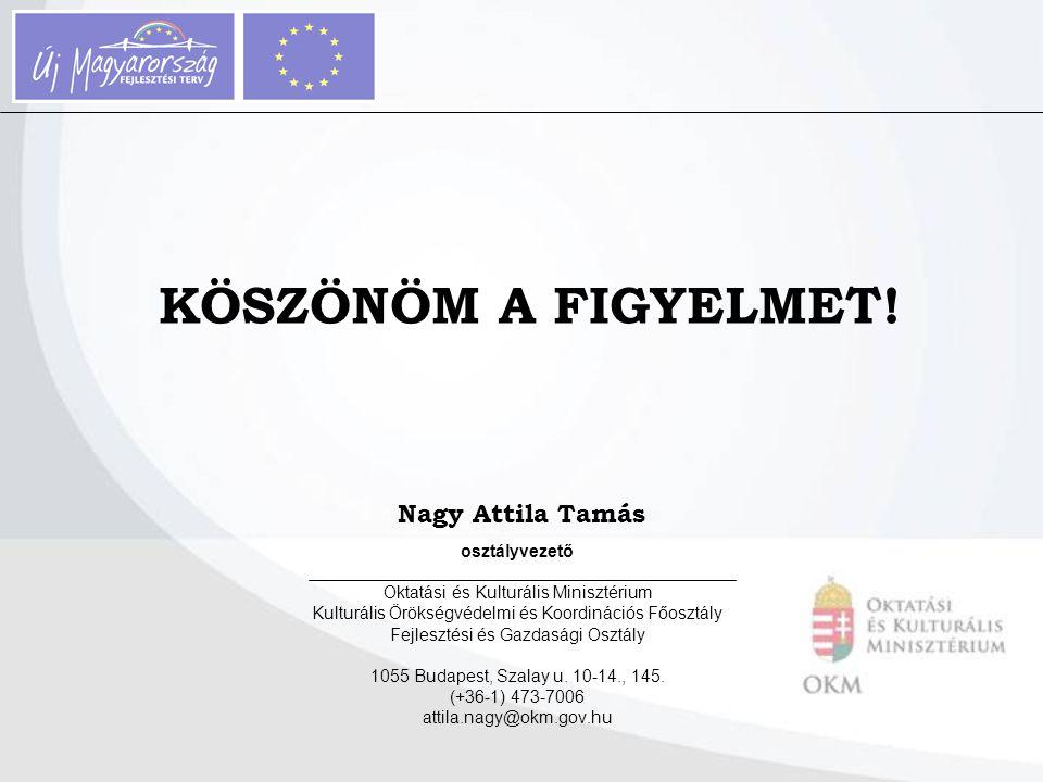 Nagy Attila Tamás osztályvezető Oktatási és Kulturális Minisztérium Kulturális Örökségvédelmi és Koordinációs Főosztály Fejlesztési és Gazdasági Osztá