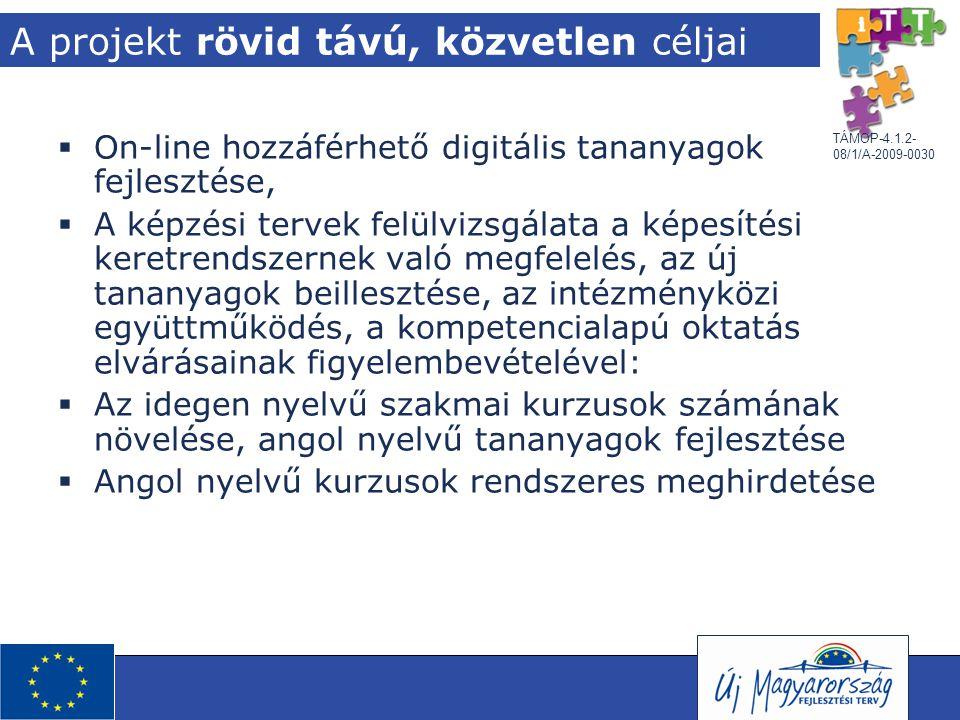 TÁMOP-4.1.2- 08/1/A-2009-0030 A projekt rövid távú, közvetlen céljai  On-line hozzáférhető digitális tananyagok fejlesztése,  A képzési tervek felül