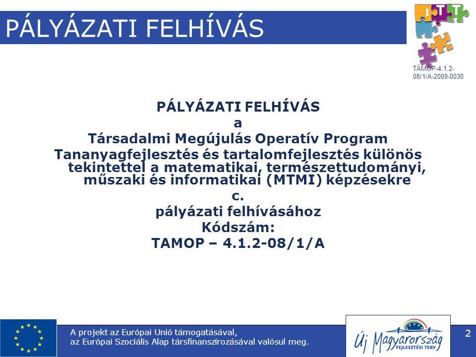 TÁMOP-4.1.2- 08/1/A-2009-0030 A projekt az Európai Unió támogatásával, az Európai Szociális Alap társfinanszírozásával valósul meg. 2 PÁLYÁZATI FELHÍV