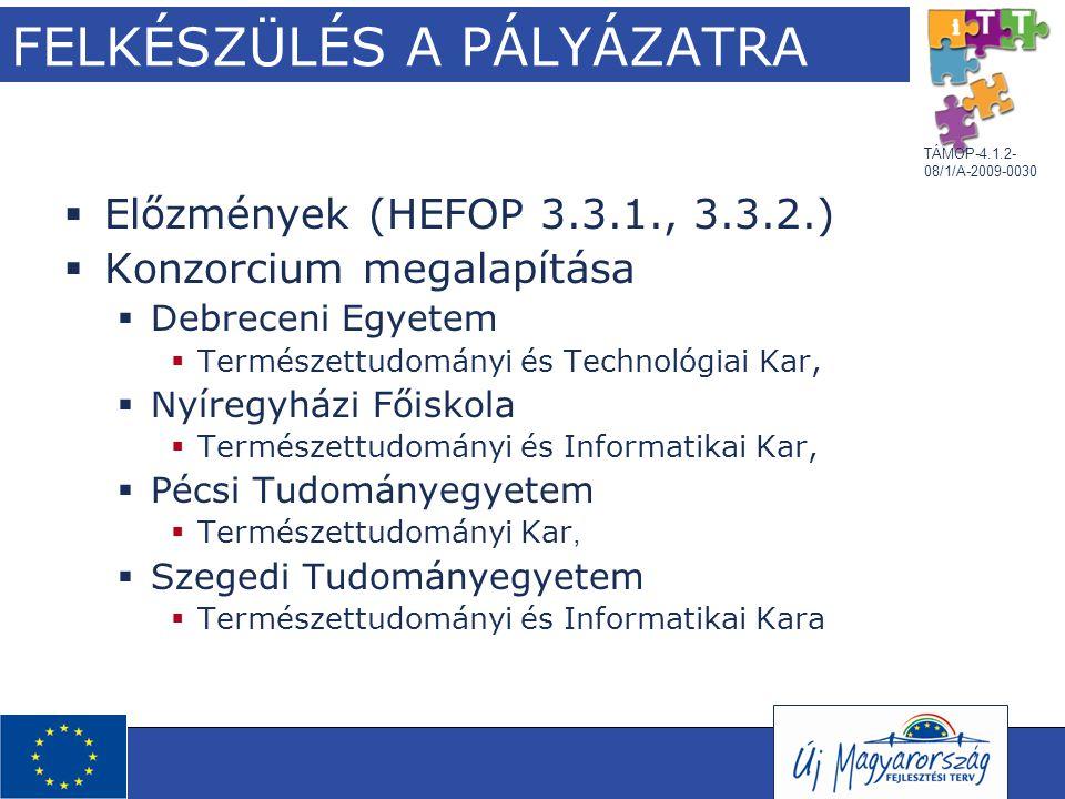 TÁMOP-4.1.2- 08/1/A-2009-0030 FELKÉSZÜLÉS A PÁLYÁZATRA  Előzmények (HEFOP 3.3.1., 3.3.2.)  Konzorcium megalapítása  Debreceni Egyetem  Természettu