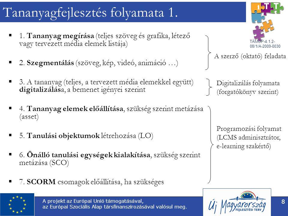 TÁMOP-4.1.2- 08/1/A-2009-0030 A projekt az Európai Unió támogatásával, az Európai Szociális Alap társfinanszírozásával valósul meg. 8 Tananyagfejleszt
