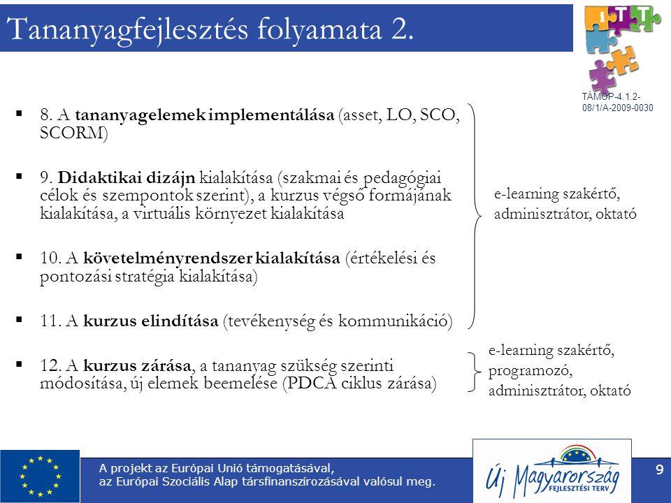 TÁMOP-4.1.2- 08/1/A-2009-0030 A projekt az Európai Unió támogatásával, az Európai Szociális Alap társfinanszírozásával valósul meg. 9 Tananyagfejleszt