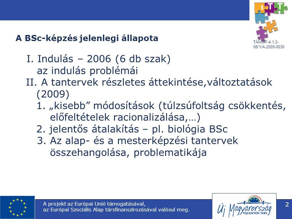 TÁMOP-4.1.2- 08/1/A-2009-0030 A projekt az Európai Unió támogatásával, az Európai Szociális Alap társfinanszírozásával valósul meg. 2 A BSc-képzés jel