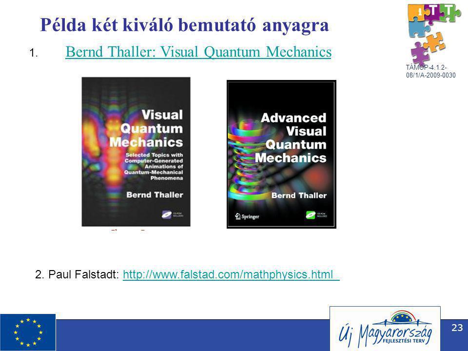 TÁMOP-4.1.2- 08/1/A-2009-0030 23 Példa két kiváló bemutató anyagra Bernd Thaller: Visual Quantum Mechanics 1.
