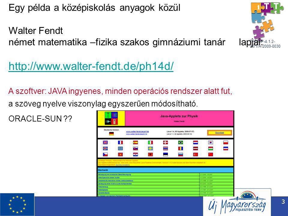 TÁMOP-4.1.2- 08/1/A-2009-0030 3 Egy példa a középiskolás anyagok közül Walter Fendt német matematika –fizika szakos gimnáziumi tanár lapjai: http://www.walter-fendt.de/ph14d/ A szoftver: JAVA ingyenes, minden operációs rendszer alatt fut, a szöveg nyelve viszonylag egyszerűen módosítható.