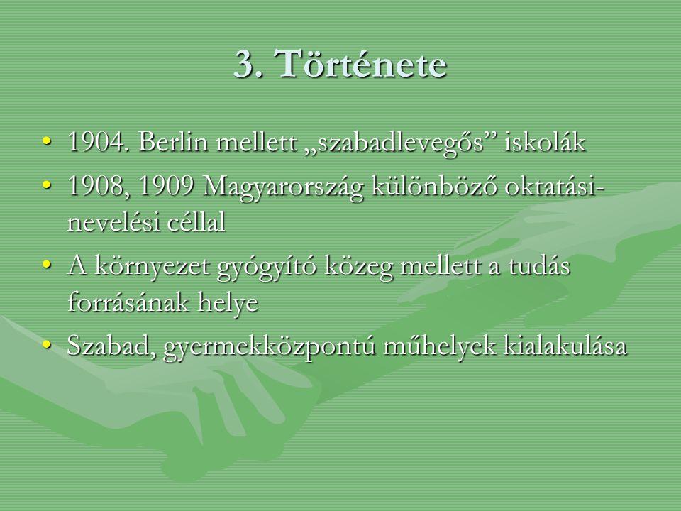 """3. Története 1904. Berlin mellett """"szabadlevegős"""" iskolák1904. Berlin mellett """"szabadlevegős"""" iskolák 1908, 1909 Magyarország különböző oktatási- neve"""