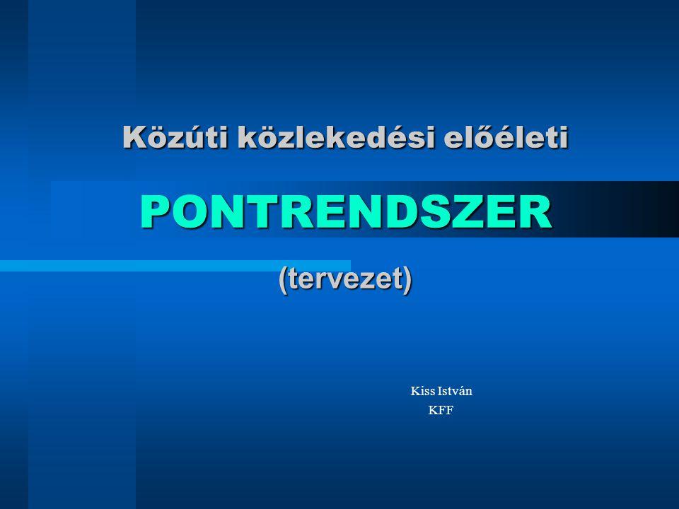 Közúti közlekedési előéleti PONTRENDSZER (tervezet) Kiss István KFF