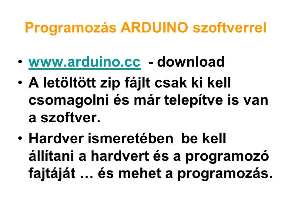 Programozás ARDUINO szoftverrel www.arduino.cc - downloadwww.arduino.cc A letöltött zip fájlt csak ki kell csomagolni és már telepítve is van a szoftv