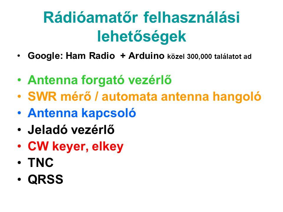 Rádióamatőr felhasználási lehetőségek Google: Ham Radio + Arduino közel 300,000 találatot ad Antenna forgató vezérlő SWR mérő / automata antenna hango