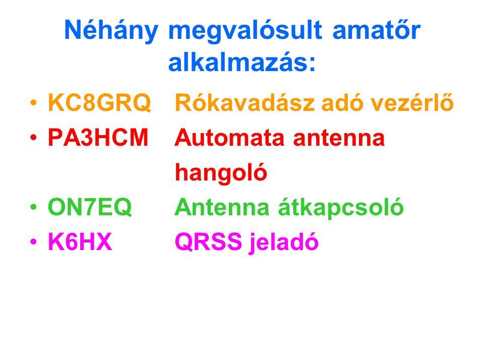 Néhány megvalósult amatőr alkalmazás: KC8GRQRókavadász adó vezérlő PA3HCMAutomata antenna hangoló ON7EQAntenna átkapcsoló K6HXQRSS jeladó
