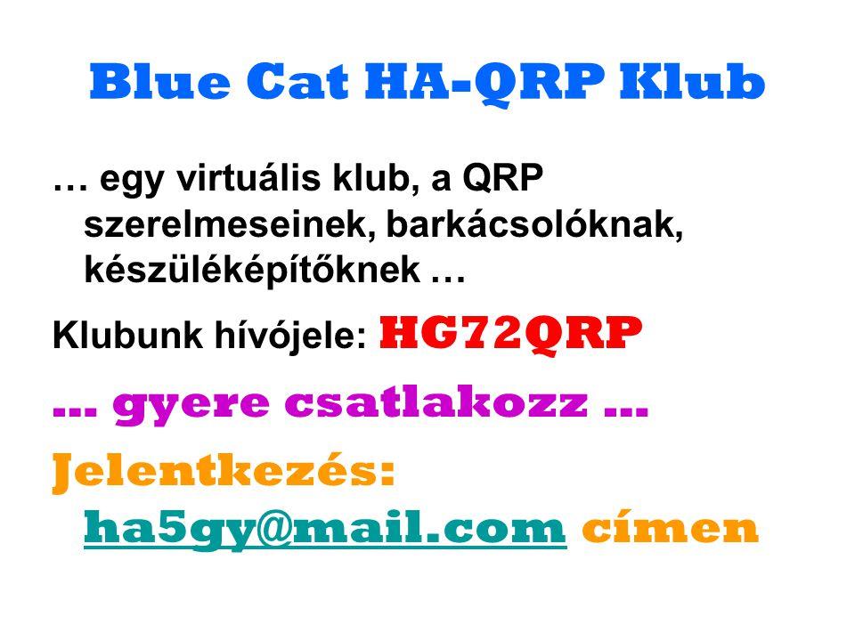 Blue Cat HA-QRP Klub … egy virtuális klub, a QRP szerelmeseinek, barkácsolóknak, készüléképítőknek … Klubunk hívójele: HG72QRP … gyere csatlakozz … Je