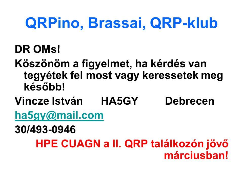 QRPino, Brassai, QRP-klub DR OMs! Köszönöm a figyelmet, ha kérdés van tegyétek fel most vagy keressetek meg később! Vincze István HA5GY Debrecen ha5gy