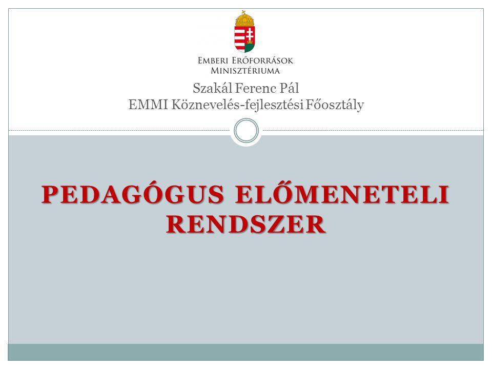 PEDAGÓGUS ELŐMENETELI RENDSZER Szakál Ferenc Pál EMMI Köznevelés-fejlesztési Főosztály