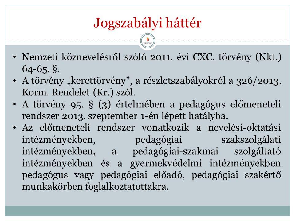 """Jogszabályi háttér Nemzeti köznevelésről szóló 2011. évi CXC. törvény (Nkt.) 64-65. §. A törvény """"kerettörvény"""", a részletszabályokról a 326/2013. Kor"""