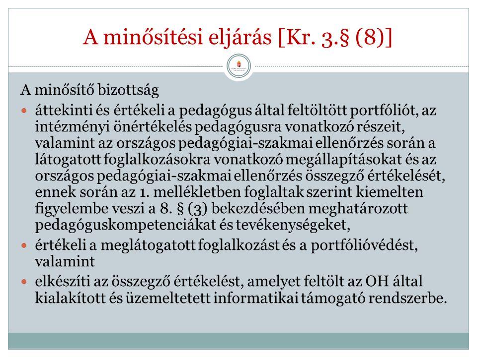 A minősítési eljárás [Kr. 3.§ (8)] A minősítő bizottság áttekinti és értékeli a pedagógus által feltöltött portfóliót, az intézményi önértékelés pedag