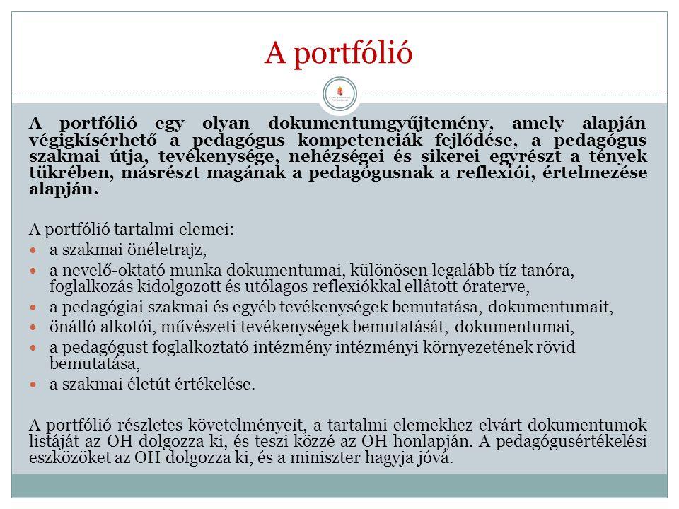 A portfólió A portfólió egy olyan dokumentumgyűjtemény, amely alapján végigkísérhető a pedagógus kompetenciák fejlődése, a pedagógus szakmai útja, tev
