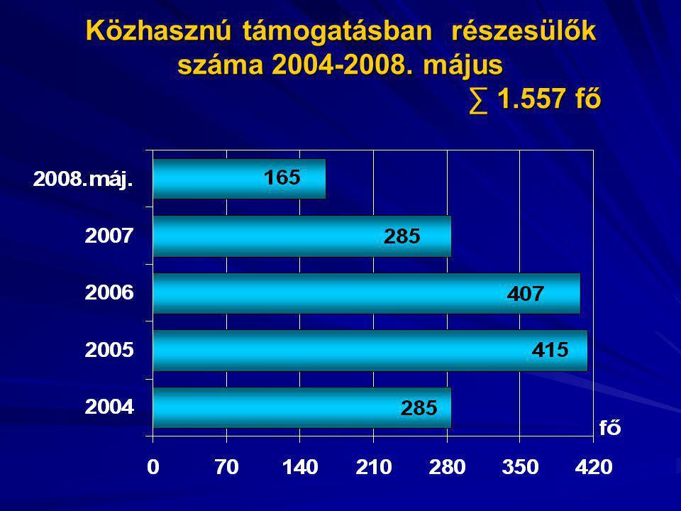 Közhasznú támogatásban részesülők száma 2004-2008. május ∑ 1.557 fő