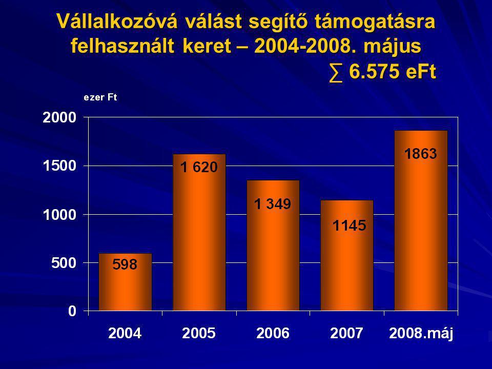 Vállalkozóvá válást segítő támogatásra felhasznált keret – 2004-2008. május ∑ 6.575 eFt