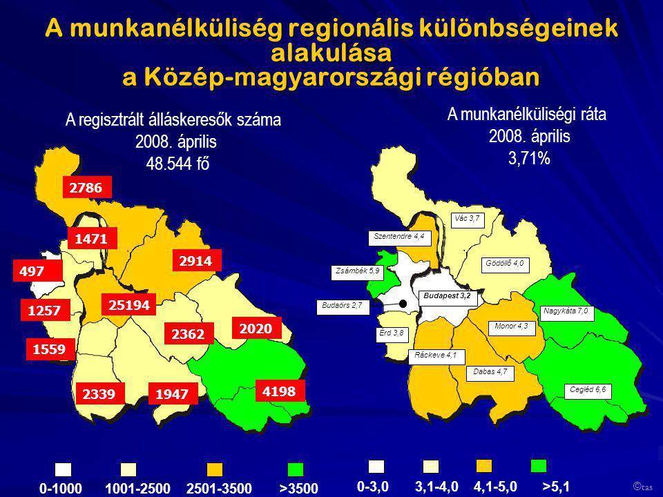A munkanélküliség regionális különbségeinek alakulása a Közép- m agyarországi régióban A regisztrált álláskeresők száma 2008. április 48.544 fő A munk
