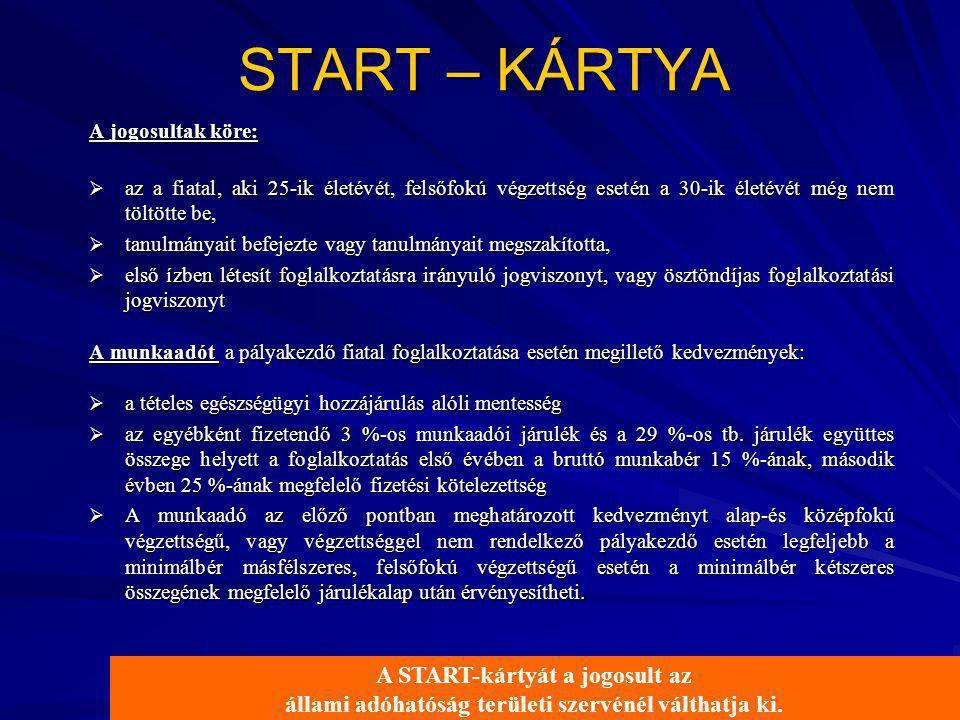 START – KÁRTYA A jogosultak köre:  az a fiatal, aki 25-ik életévét, felsőfokú végzettség esetén a 30-ik életévét még nem töltötte be,  tanulmányait