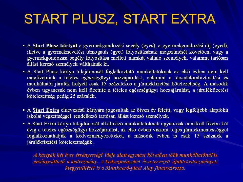 START PLUSZ, START EXTRA  A Start Plusz kártyát a gyermekgondozási segély (gyes), a gyermekgondozási díj (gyed), illetve a gyermeknevelési támogatás (gyet) folyósításának megszűnését követően, vagy a gyermekgondozási segély folyósítása mellett munkát vállaló személyek, valamint tartósan állást kereső személyek válthatnák ki.