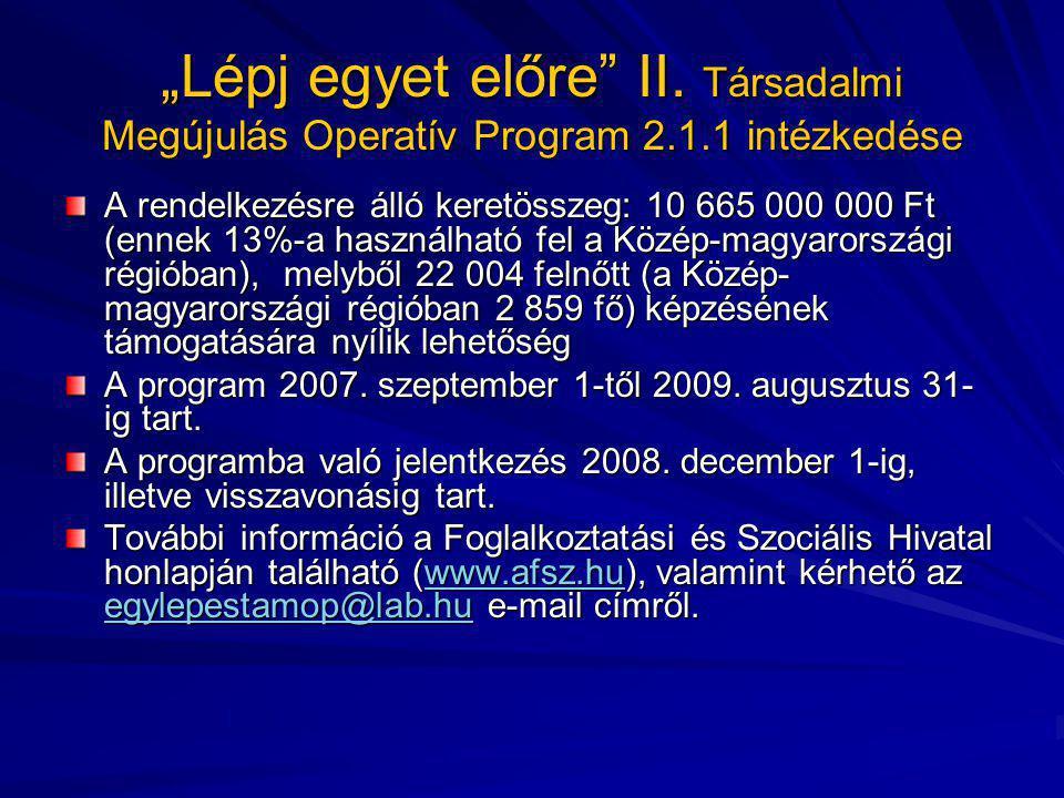 """""""Lépj egyet előre"""" II. Társadalmi Megújulás Operatív Program 2.1.1 intézkedése A rendelkezésre álló keretösszeg: 10 665 000 000 Ft (ennek 13%-a haszná"""