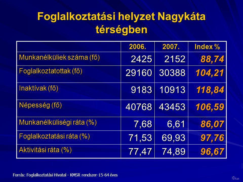Foglalkoztatási helyzet Nagykáta térségben 2006.2007. Index % Munkanélküliek száma (fő) 2425215288,74 Foglalkoztatottak (fő) 2916030388104,21 Inaktíva